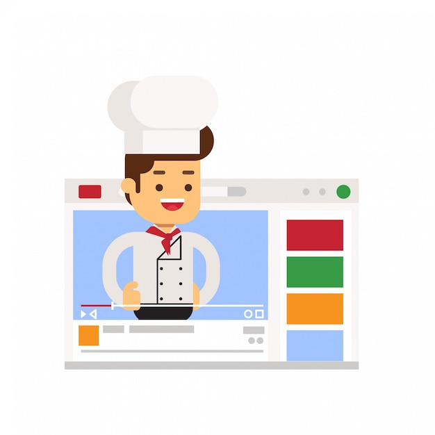 Chef character sharing cooking experience through vlog Premium Vector