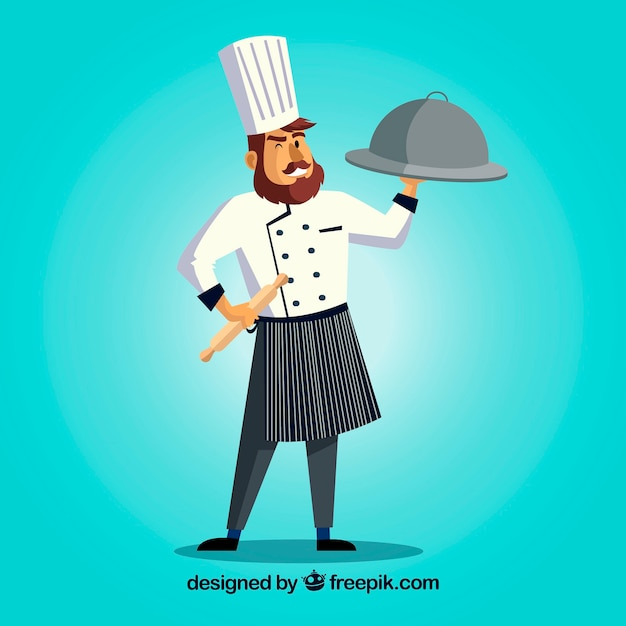 Chef character with a delicious dish