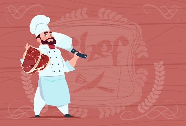 Chef cook holding cleaver knife and meat smiling cartoon chief in white restaurant uniform over wooden textured background Premium Vector