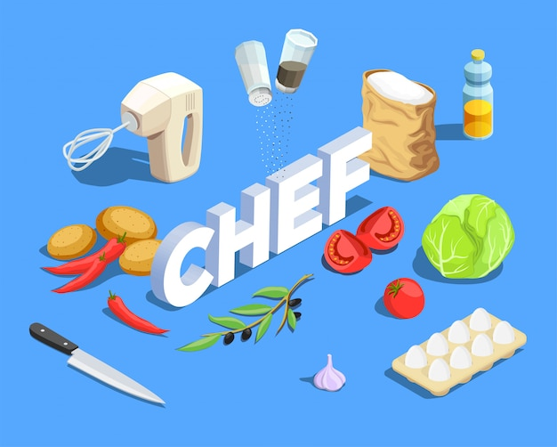 Chef cook isometric background Free Vector