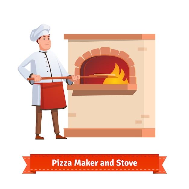 Chef cook putting pizza to a brick stone furnace Free Vector