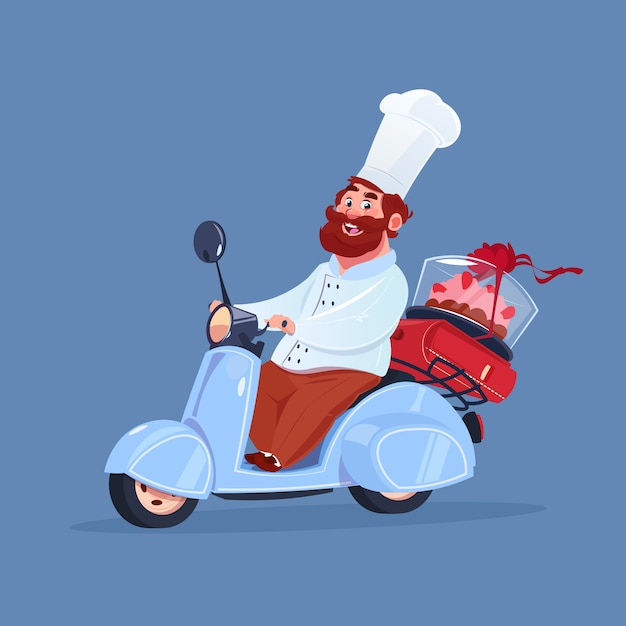 Chef cook riding electric scooter delivery of cake on vintage motorcycle isolated on blue background Premium Vector