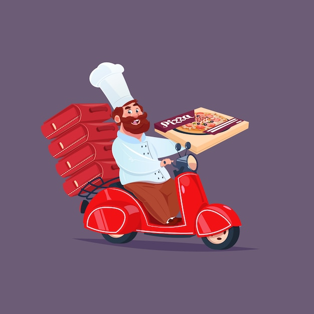 Chef cook riding red motor bike fast pizza delivery concept Premium Vector