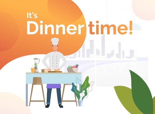 Chef cooking dinner in kitchen and cutting bread Free Vector