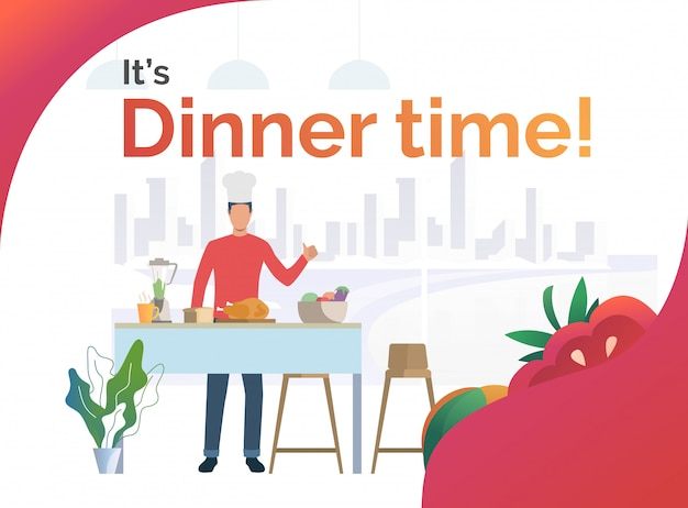 Chef cooking dinner in kitchen and showing thumb up Free Vector
