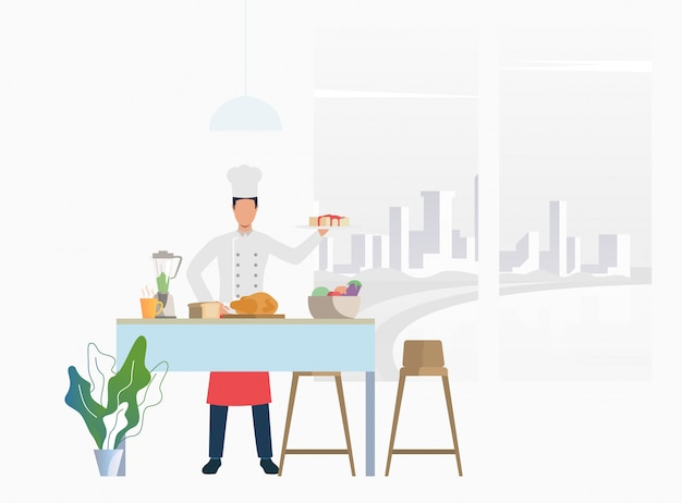Chef cooking dinner at kitchen table and holding cake Free Vector