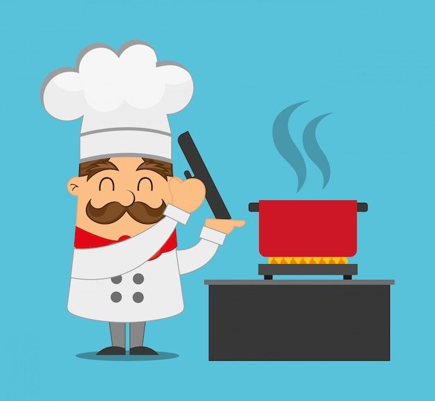 Chef cooking illustration Free Vector