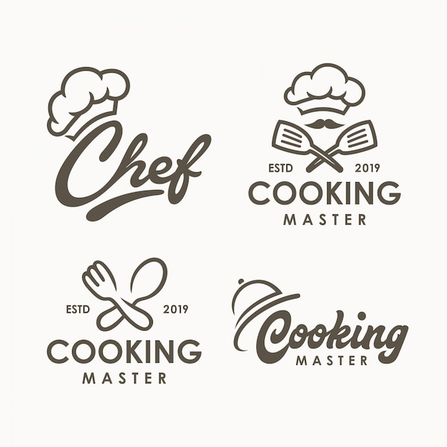 Chef cooking logo template Premium Vector