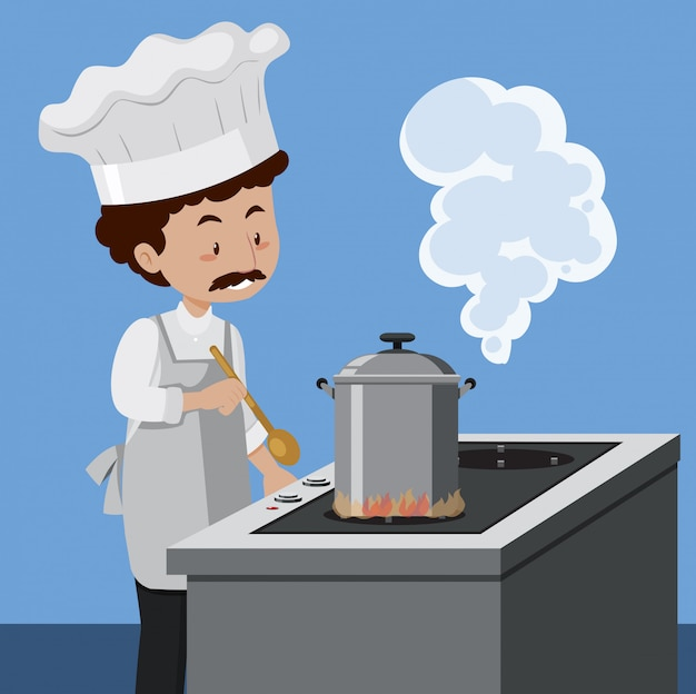 A chef cooking with pressure cooker Free Vector
