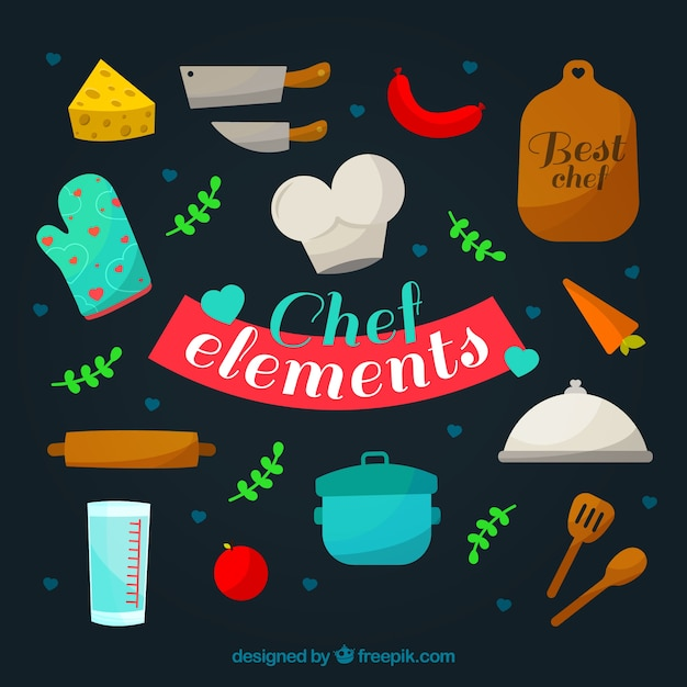 Chef elements collection Free Vector