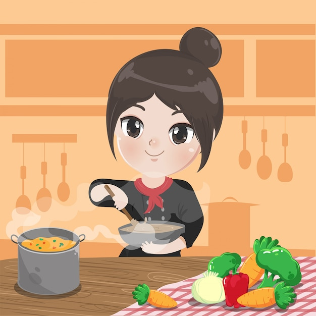 Chef Girl Is Cooking Cooking In The Kitchen Premium Vector
