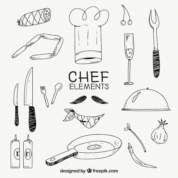 Chef hat and other elements in hand-drawn style Free Vector
