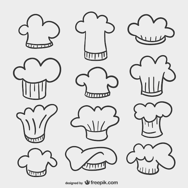 chef hats drawings vector free download