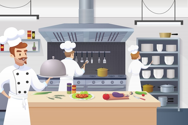 Chef holding ready dish in his hand Free Vector