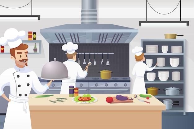 Шеф-повар держит в руке готовое блюдо Бесплатные векторы