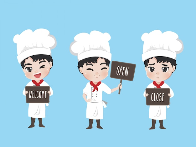 The chef holds a sign at the front of the shop, Premium Vector