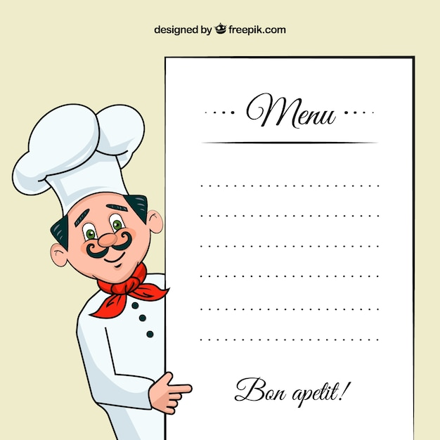 Superior Chef Illustration With A Menu Template Free Vector  Chef Templates