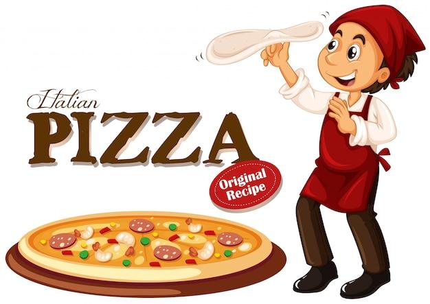 Chef making italian pizza Premium Vector