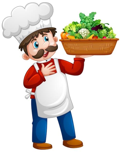 야채 통 만화 캐릭터 절연을 들고 요리사 남자 무료 벡터