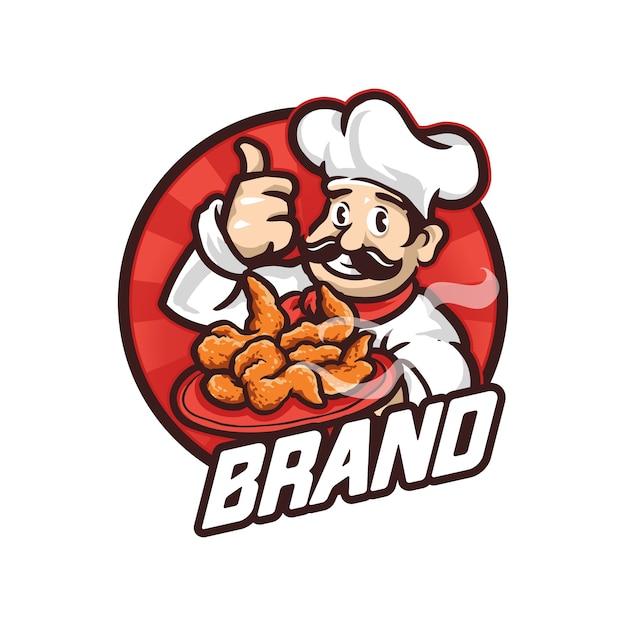 Chef mascot logo illustration Premium Vector