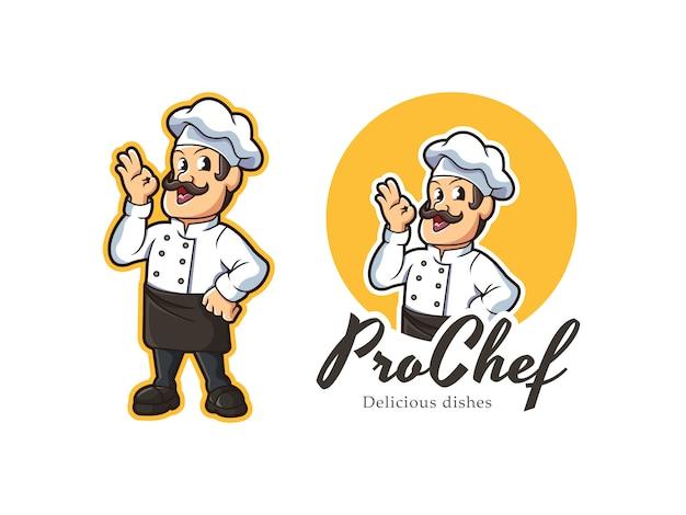 Chef mascot logo Premium Vector