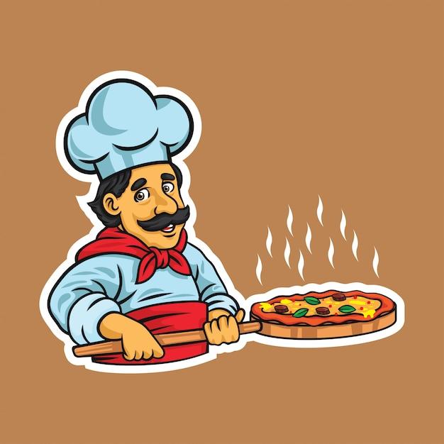 Chef pizza illustration Premium Vector