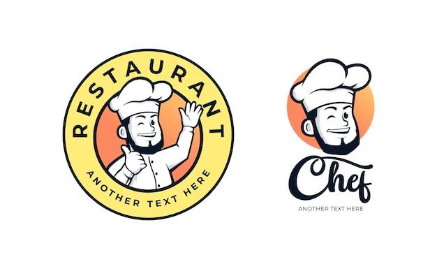 Chef restaurant badge logo design set Premium Vector