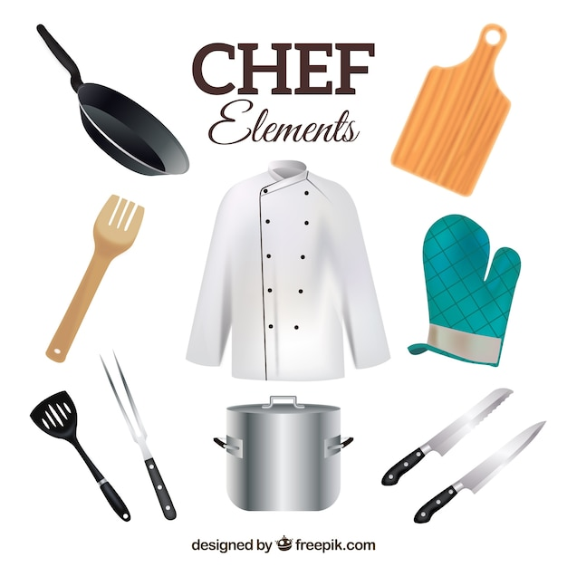 Chef uniform with realistic kitchen objects vector free for Utensilios del chef
