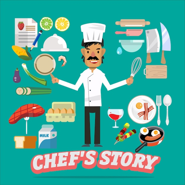 Chef with food and kitchen element. Premium Vector
