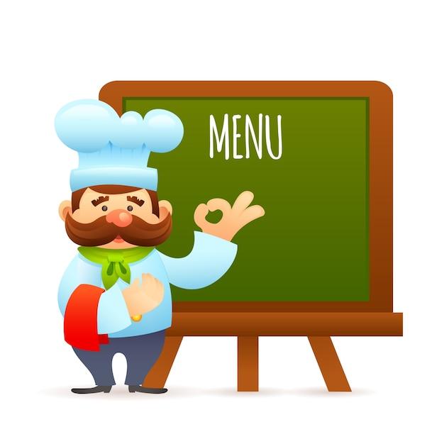 Chef with menu board Free Vector
