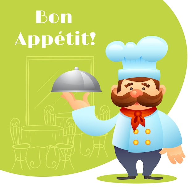 Chef with tray poster Free Vector