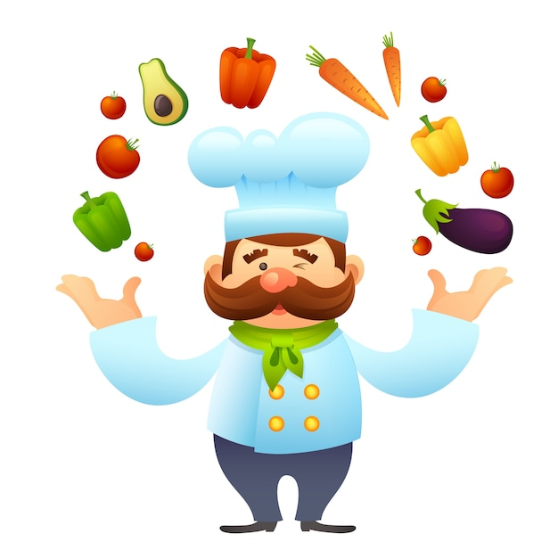 Chef with vegetables Free Vector