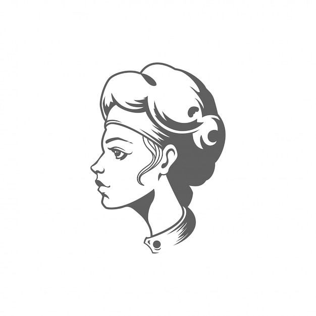 Chef woman face silhouette vector illustration isolated on white background. Premium Vector
