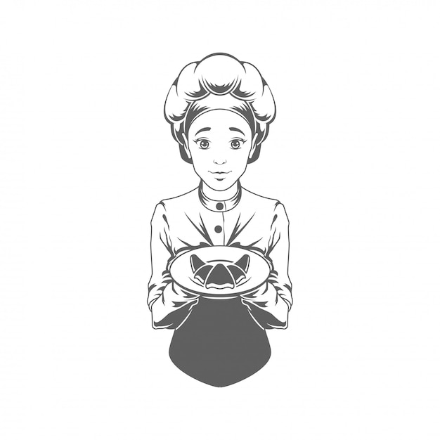 Chef woman giving croissant vector illustration silhouette isolated Premium Vector