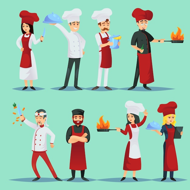 Chefs of different cuisines in icon set Premium Vector