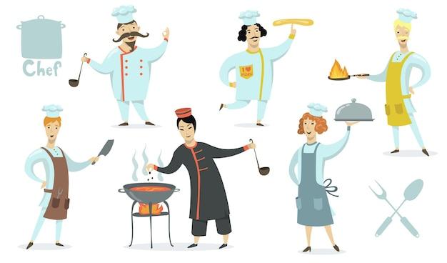 Повара в фартуках и шляпах поваров. ресторанные блюда готовят профессионалы. векторная иллюстрация для еды, кулинарии, кухни, работы, концепции традиционной кухни Бесплатные векторы