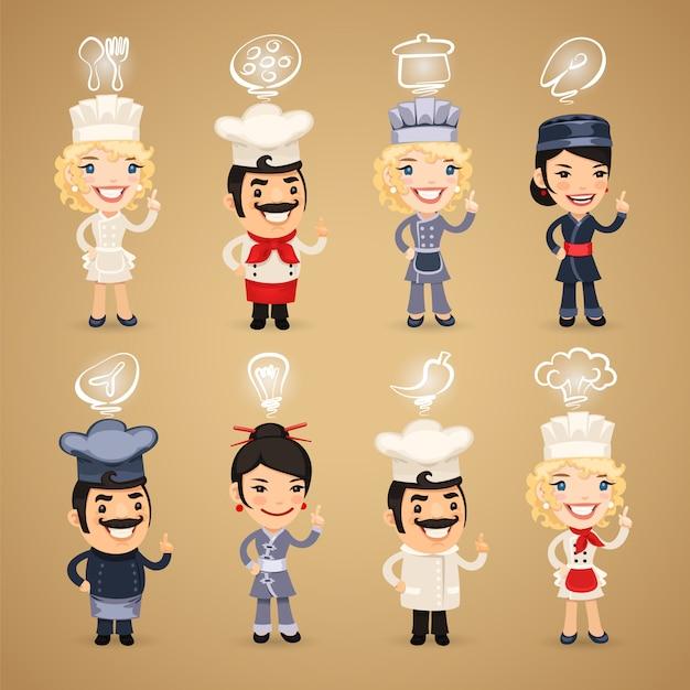 Chefs with icons set Premium Vector