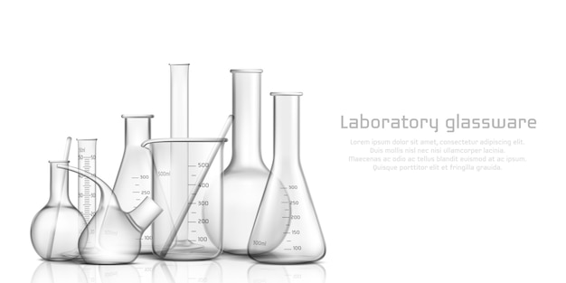 Chemical, biological science laboratory glassware collection Free Vector