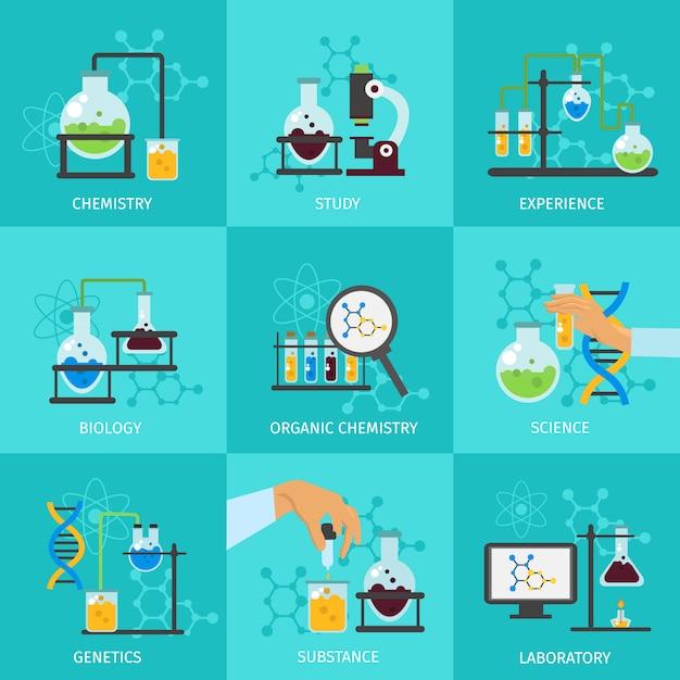 Set di elementi chimici sperimentali Vettore gratuito