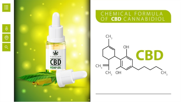 Chemical formula of cbd cannabidiol and cbd oil bottle with pipette. Premium Vector