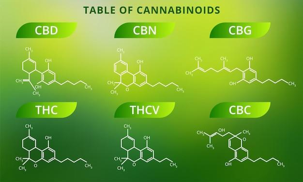 Chemical formulas of natural cannabinoids. Premium Vector