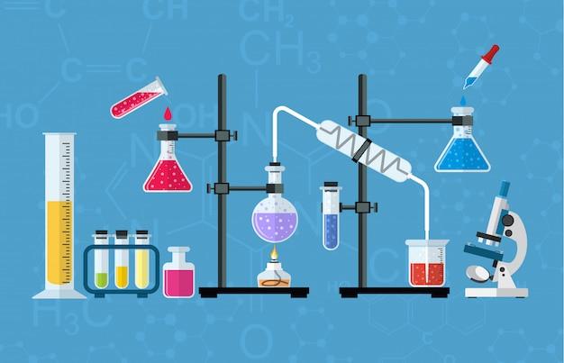 Chemical glassware, laboratory. Premium Vector