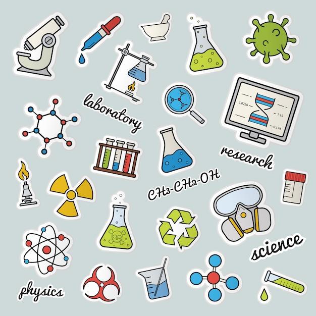 Chemical lab patches Premium Vector