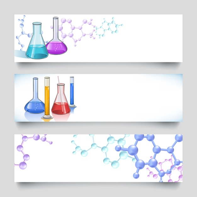 Chemical laboratory banners backgrounds Free Vector