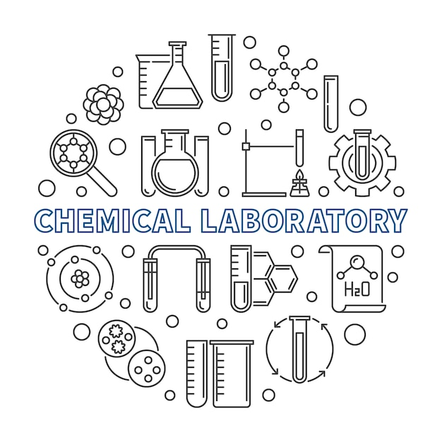 Chemical laboratory concept round outline icon illustration Premium Vector