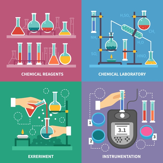 Chemical laboratory concept Premium Vector
