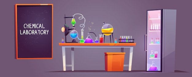 Chemical laboratory interior with glass flasks Free Vector