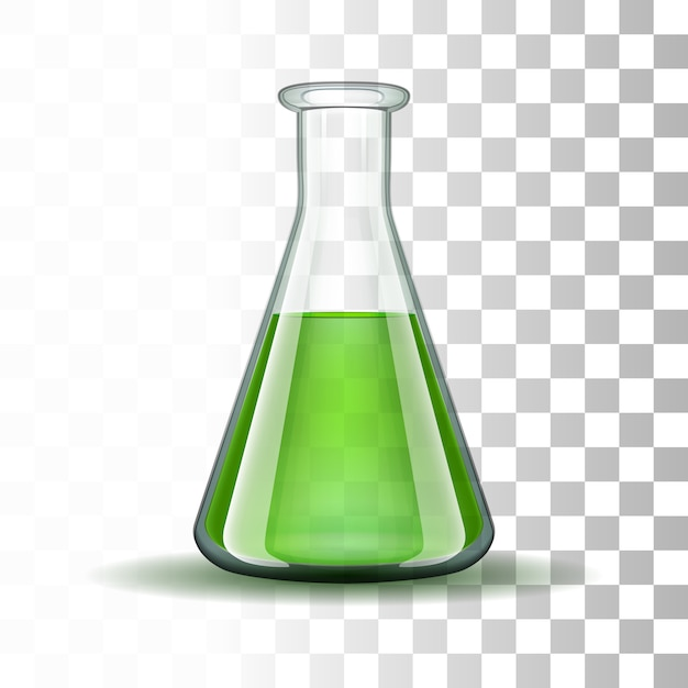 Chemical laboratory transparent flask with green liquid Premium Vector