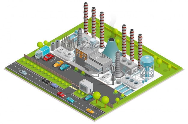 Chemical plant isometric illustration Free Vector