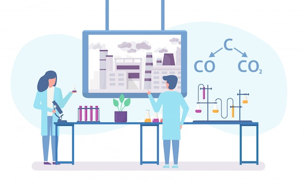 Chemical research in ecology of polluted city with scientists people and chemical formula of air polution flat illustration. Premium Vector